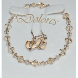 Srebrna bransoletka i kolczyki z kryształkami Swarovskiego Golden Shadow Na rękę