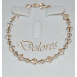 Srebrna bransoletka z kryształkami Swarovskiego Golden Shadow Na rękę
