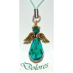 Szmaragdowy aniołek ze skrzydłami koloru złotego i kryształową główką (kryształek Swarovskiego) Na rękę