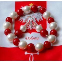 Biało-czerwony komplet - branosletka i kolczyki z korala naturalnego i białej perły Majorka