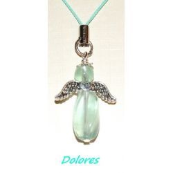 Fluorytowy aniołek ze srebrnymi skrzydełkami z serduszkiem - na podejmowanie decyzji Na rękę