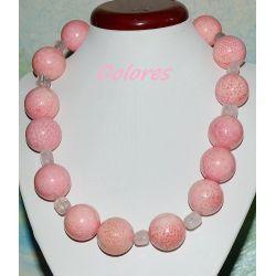 Naszyjnik z korala naturalnego i kwarcu różowego ze srebrnym zapięciem
