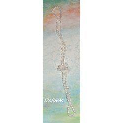 Długi sznur białych pereł słodkowodnych około 6 mm.