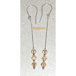 Srebrne kolczyki z krystałkami Golden Shadow na długich żmijkach Na rękę