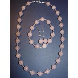 Komplet z naturalnego kwarcu różowego, srebra i kryształków Swarovskiego Na rękę