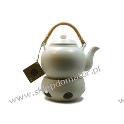 Dzbanek z podgrzewaczem - 1.1 litra - ecru mat- Herbata GRATIS!!!