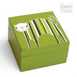pudełeczko - zielony kociak