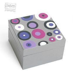 pudełeczko - szare w kropy