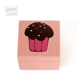 pudełeczko 10x10cm - muffinka różowa