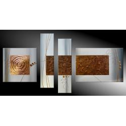 """obrazy nowoczesne """"golden cube""""  ręcznie malowane w technice strukturalnej na podkładach 3D 130x60cm"""