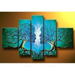 obrazy nowoczesne ręcznie malowany na płótnie zakochane drzewa