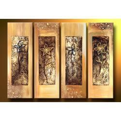 """""""kwiaty w strukturze"""" obrazy nowoczesne strukturalny, 4 niezależne elementy Akryl"""