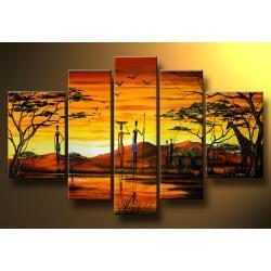 """""""AfrIkA! AfriKa!"""" ręcznie malowany obrazy nowoczesne na płótnie, 5 elementów Akryl"""