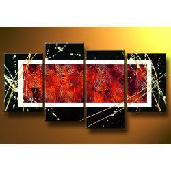 """""""black red white"""" obrazy nowoczesne strukturalny, ręcznie malowany na płótnie Akryl"""