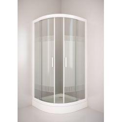 Kabina prysznicowa półokrągła SIGMA 80 chrom, szkło wzór A1 biały Kabiny i brodziki