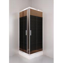 Kabina prysznicowa kwadratowa SIGMA 80 chrom, szkło brąz wzór A2 Kabiny i brodziki
