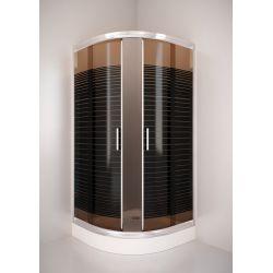 Kabina prysznicowa półokrągła SIGMA 90 chrom, szkło wzór brąz A2 Kabiny i brodziki