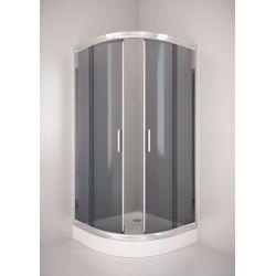 Kabina prysznicowa półokrągła SIGMA 90 chrom, szkło grafitowe Kabiny i brodziki