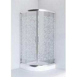 Kabina prysznicowa półokrągła SIGMA 90 chrom, szkło A3 dekor Kabiny i brodziki