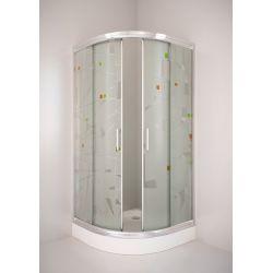 Kabina prysznicowa półokrągła SIGMA 90 chrom, szkło dekor Kabiny i brodziki