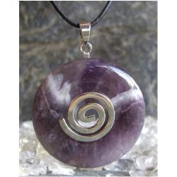 Wisior Ametyst, celtycka spirala magiczna  - 100% naturalny -  tylko 1 sztuka - piękna, magiczna i naenergetyzowana