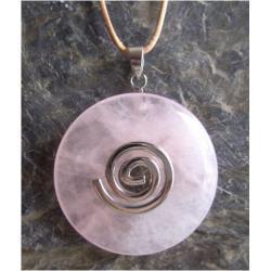 Wisior Kwarc różowy, celtycka spirala magiczna  - 100% naturalny -  tylko 1 sztuka - piękna, magiczna i naenergetyzowana