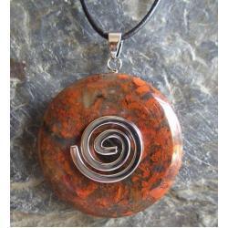Wisior Jaspis, celtycka spirala magiczna  - 100% naturalny -  tylko 1 sztuka - piękna, magiczna i naenergetyzowana