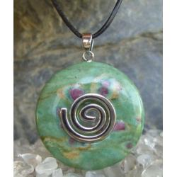 Wisior Talizman RUBIN z fuksytem, celtycka spirala magiczna  - 100% naturalny -  tylko 1 sztuka - piękna, magiczna i naenergetyzowana