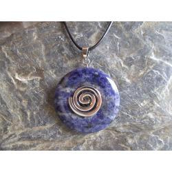 Wisior Talizman Sodalit, celtycka spirala magiczna  - 100% naturalny -  tylko 1 sztuka - piękna, magiczna i naenergetyzowana