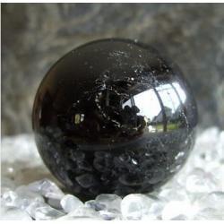 SPRZEDANA - ZAMOW PODOBNA Czarny Turmalin Schörl kula 42 mm 100% naturalny -  tylko 1 sztuka - piękna, magiczna i naenergetyzowana