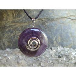 Sprzedany - zapytaj o podobny - Wisior Talizman Ametyst, celtycka spirala magiczna  - 100% naturalny -  tylko 1 sztuka - piękna, magiczna i naenergetyzowana