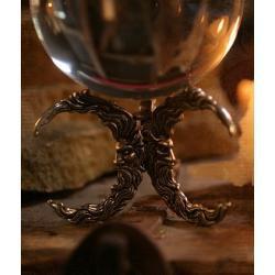 Podstawa stojak pod krysztalowa kule 3 polksiezyce - kolor srebrny cyna