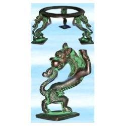 Podstawa stojak pod krysztalowa kule MOSIADZ - Lew - tylko na kule o srednicy wiekszej niz 9 cm
