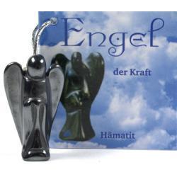 Anioł zawieszka z czystego hematytu - amulet siły i mocy 32 x 17 mm