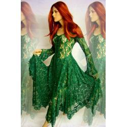 Magiczna suknia duszków lasu Elfów - koronka - szmaragdowo zielona