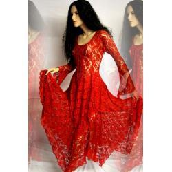 Magiczna suknia duszków lasu Elfów - koronka - rubinowo-czerwona