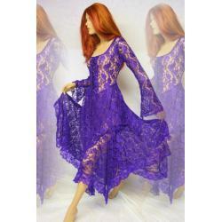Magiczna suknia duszków lasu Elfów - koronka - fioletowa