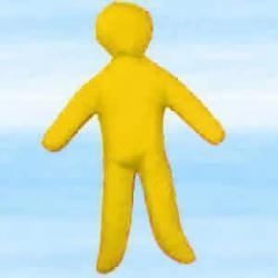 Lalka magiczna do rytuałów miłosnych voodoo - żółta około 30x18 cm