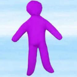 Lalka magiczna do rytuałów szczęścia voodoo - fioletowa około 30x18 cm