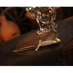 Obrus do rozkładania kart, rytuałów i zaklęć magicznych, na ołtarze - z pentagramem - wzór złocony