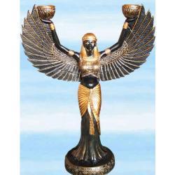 Piękny świecznik na świece tradycyjne i rytualne - Bogini Isis - bardzo duży
