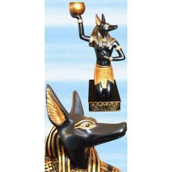 Piękny świecznik na świece tradycyjne i rytualne - Anubis patrzący w lewo