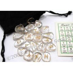 24 Runy złocone na krysztale górskim i woreczek do przechowywania run - idealne na prezent