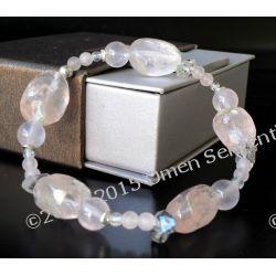 Bransoletka z naturalnych kwarców różowych z diamentami Harkimer z gwarancją pochodzenia od Marii Bucardi