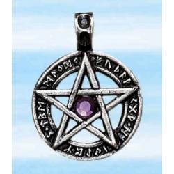 Amulet runiczny - pentagram - posrebrzany z kryształem - pomaga zrealizować najskrytsze marzenia