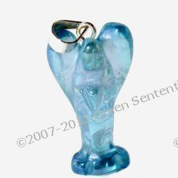 Talizman Aqua Aura w formie anielskiej - Srebro 925 -  kryształ naturalny w reakcji z naturalnym złotem