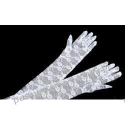 RĘKAWICE WIECZOROWE dł. 43cm KORONKOWE - białe