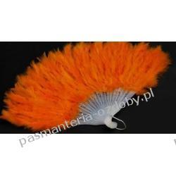 WACHLARZ Z PIÓR MARABUTA - kolor pomarańczowy Koraliki i cekiny