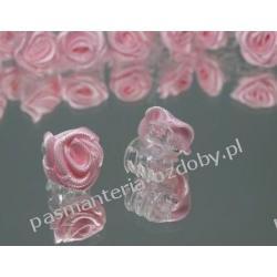 Spinki żabki z różyczką do włosów 1,5cm różowe Przedmioty do ozdabiania