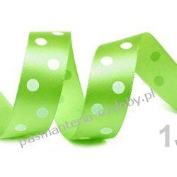 Taśma satyna /atłas duże grochy 22mm/HURT 19,5m - zielony Przedmioty do ozdabiania